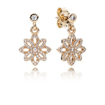 Lace Botanique Drop Earrings, Clear Cz 14K Gold