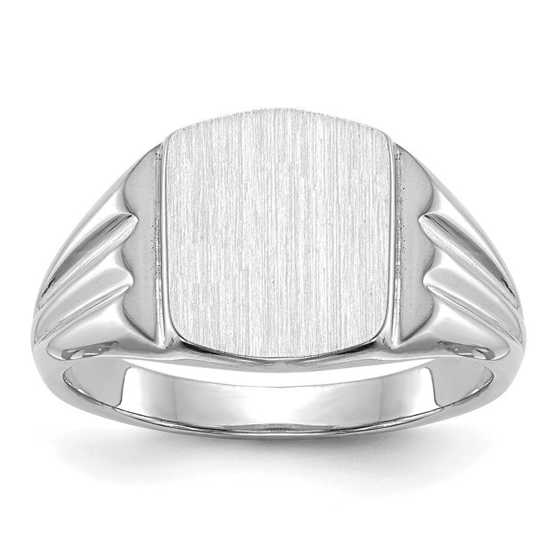 Quality Gold 14k White Gold 9.5x8.0mm Closed Back Signet Ring