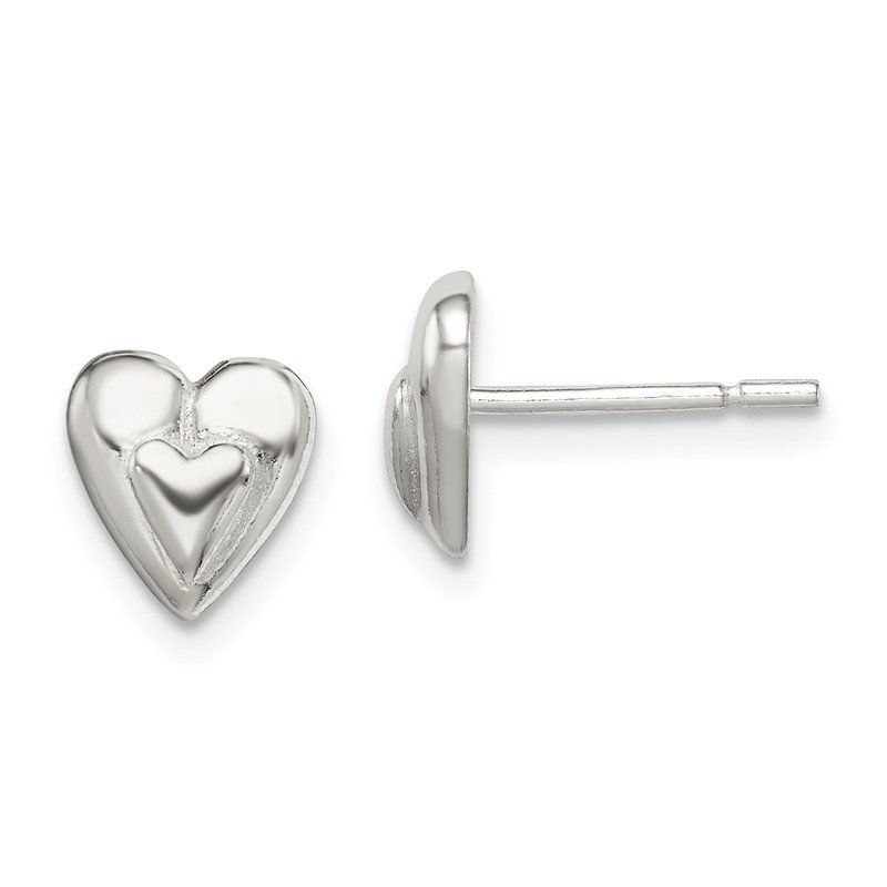 Fine Jewelry by JBD Sterling Silver Heart Earring