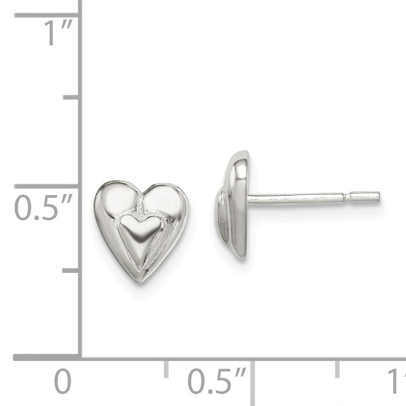 Quality Gold Sterling Silver Heart Earring
