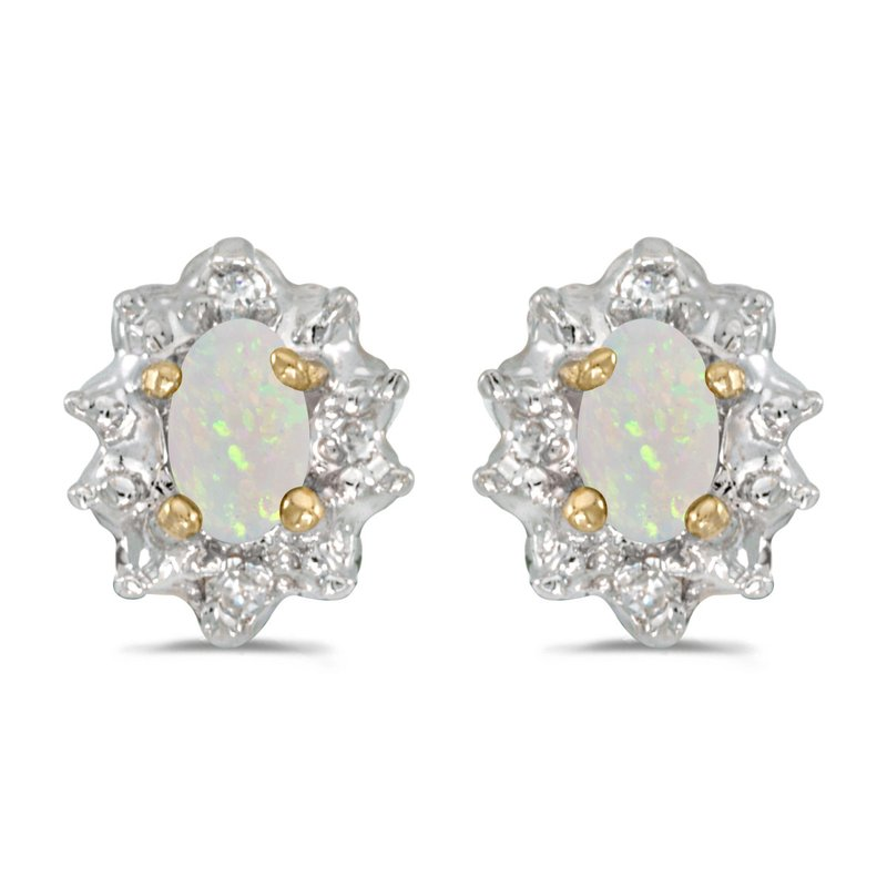 Color Merchants 10k Yellow Gold Oval Opal And Diamond Earrings