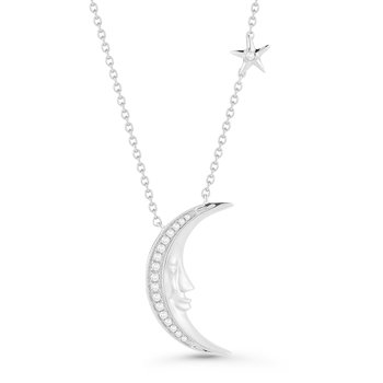 "14K Crescent Moon Necklace with 0.06C Diamonds, 18"" Chain"
