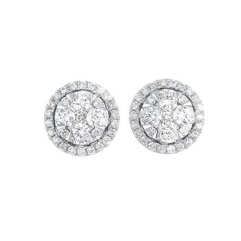 Diamond Round Halo Cluster Stud Earrings in 14k White Gold (3/4 ctw)