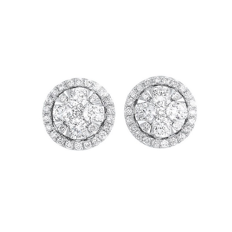 Gems One Diamond Round Halo Cluster Stud Earrings in 14k White Gold (3/4 ctw)