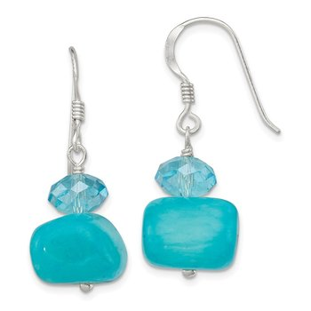 Sterling Silver Aquamarine Crystal and Blue Jade Earrings