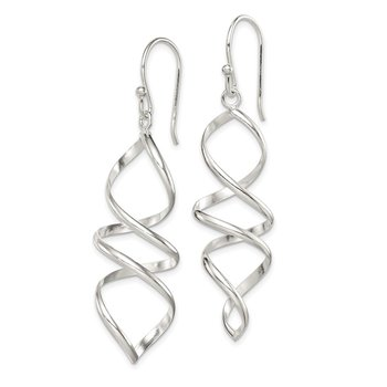 Sterling Silver Corkscrew Twisted Dangle Earrings