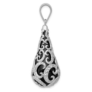 Sterling Silver Rhodium-plated D/C Teardrop Pendant