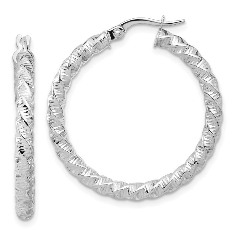 Quality Gold 14k White Gold Polished 3mm Twisted Hoop Earrings