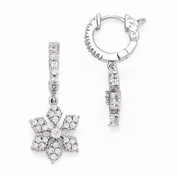 Sterling Silver Rhodium Plated CZ Hinged Hoop Dangle Snowflake Earrings