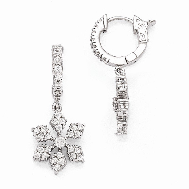 Quality Gold Sterling Silver Rhodium Plated CZ Hinged Hoop Dangle Snowflake Earrings