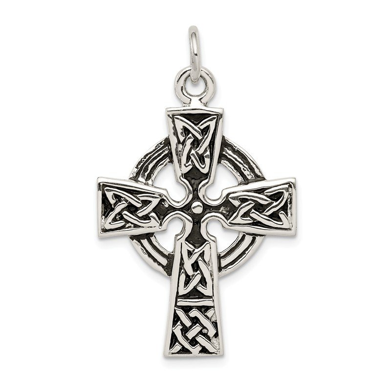 Quality Gold Sterling Silver Antiqued Celtic Cross Charm