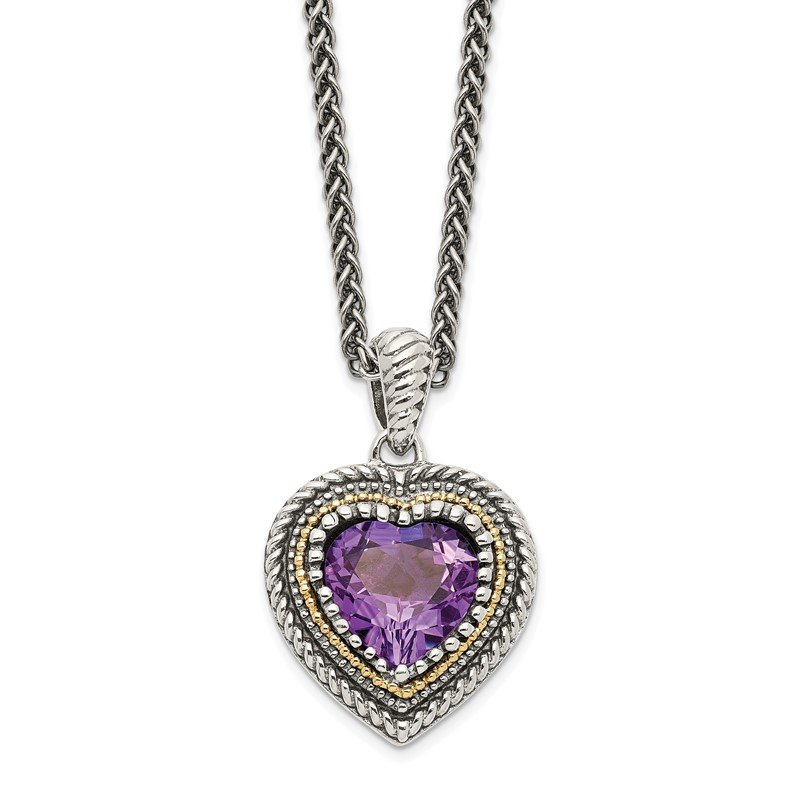 Quality Gold Sterling Silver w/14k Amethyst Heart Necklace