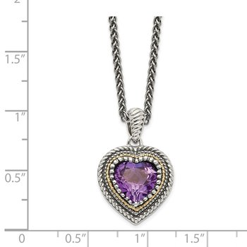 Sterling Silver w/14k Amethyst Heart Necklace