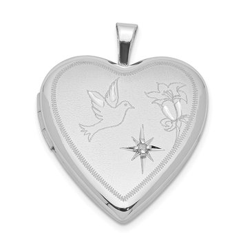 Sterling Silver Rhodium-plated Diamond D/C Dove & Flower Heart Locket