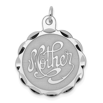 Sterling Silver Rhodium-plated Mother Disc Charm