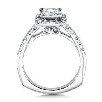 Cushion shape halo mounting .42 ct. tw., 1 ct. Princess cut center.