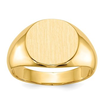 14k 12.5x13.5mm Closed Back Mens Signet Ring