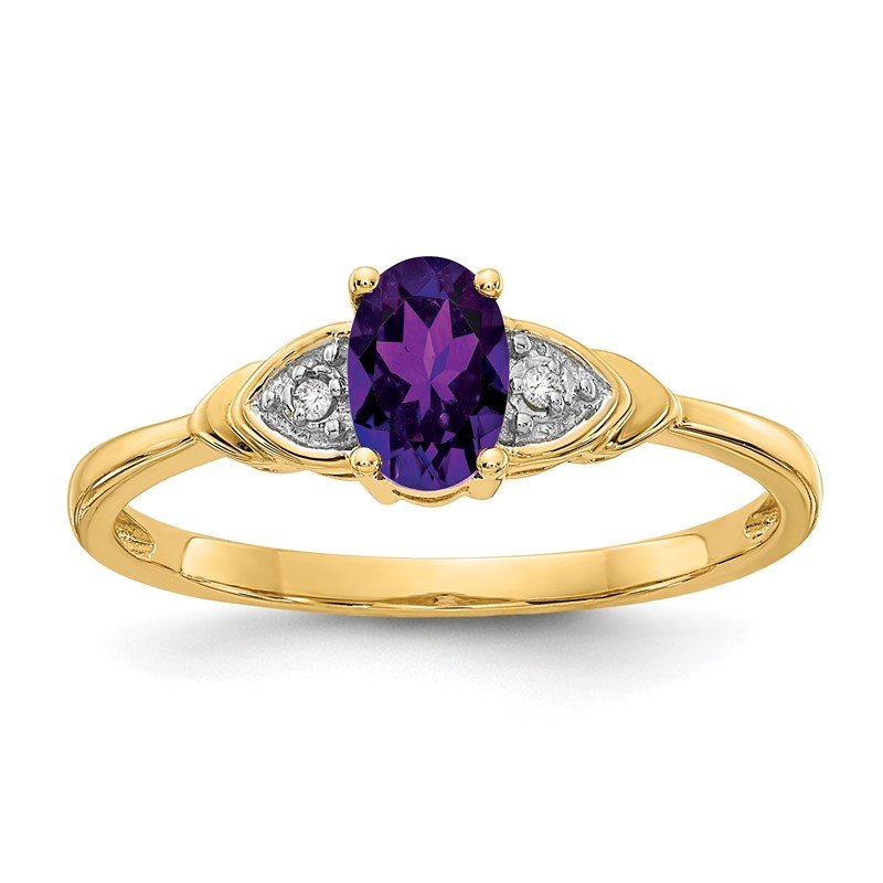 Fine Jewelry by JBD 14k Amethyst and Diamond Ring