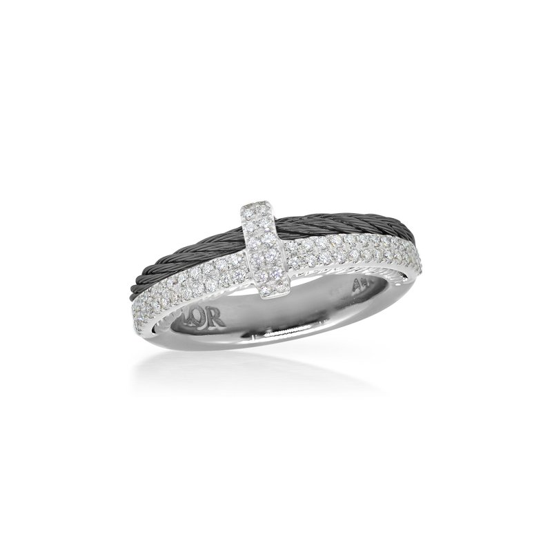 ALOR Black Cable Petite Opulence Ring with 18kt White Gold & Diamonds