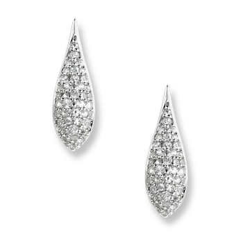 Sterling Silver Teardrop Earrings-White Sapphires