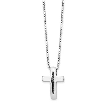SS White Ice .1ct. Black Diamond Cross Necklace
