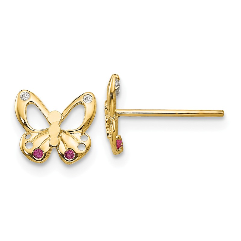 14k Yellow Gold Madi K CZ Pink Enamel Butterfly Post Earrings