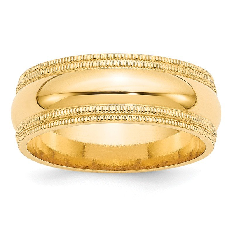 Quality Gold 14KY 8mm Double Milgrain Comfort Fit Band Size 10