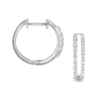 14K Diamond Double Row Asymmetrical Hoops