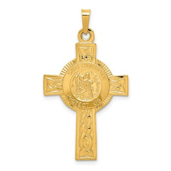 14k Cross w/St. Christopher Medal Pendant