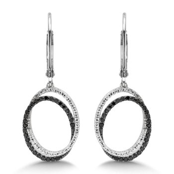 Pave set Diamond Oval Reflection Hoops in 14k White Gold (3/4 ct. tw.) JK/I1