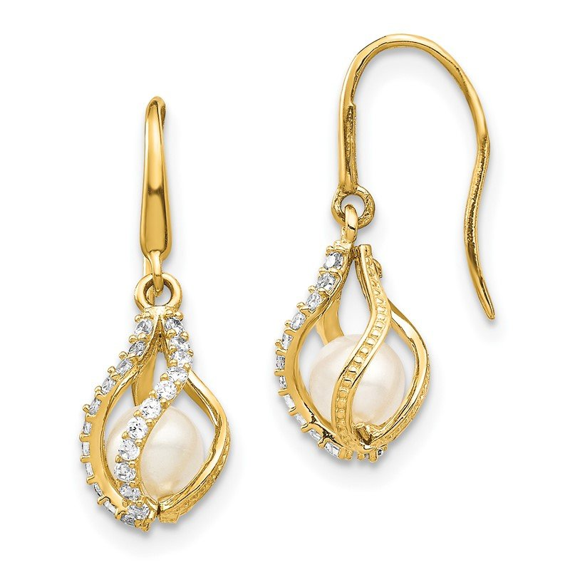 Quality Gold 14k White Freshwater Cultured Pearl CZ Cage Dangle Earrings