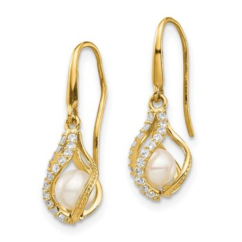 14k White Freshwater Cultured Pearl CZ Cage Dangle Earrings