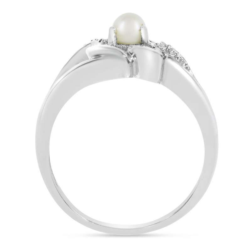 14k White Gold Freshwater Cultured Pearl And Diamond Heart Ring