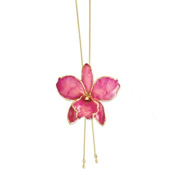 24K Gold-trim Lacquer Dipped Fuchsia Cattleya Orchid Adj Gold-tone Necklace