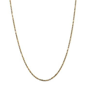 14k 2.25mm D/C Milano Rope Chain