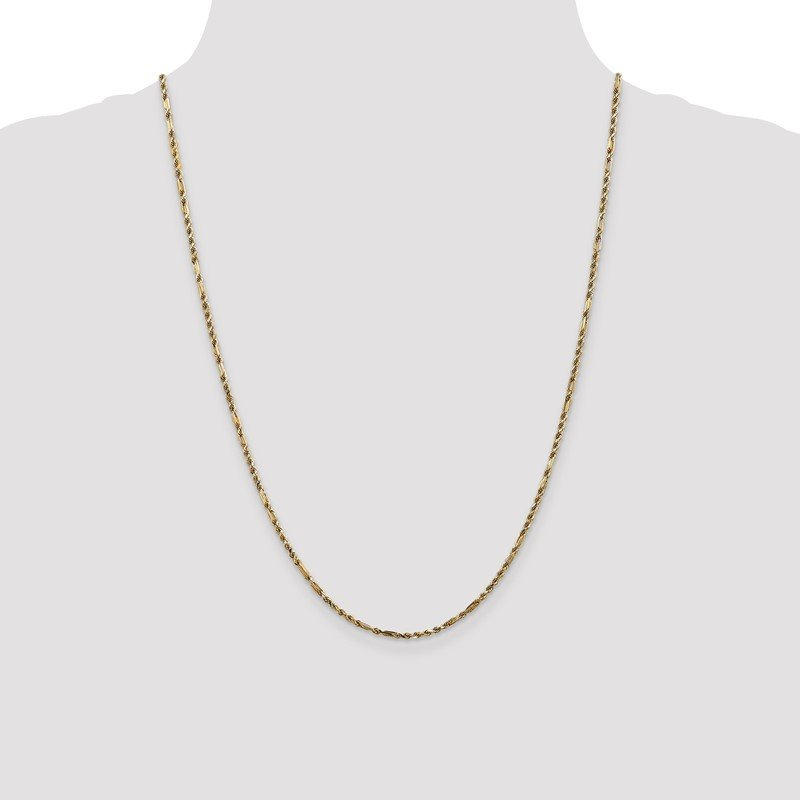 Quality Gold 14k 2.25mm D/C Milano Rope Chain