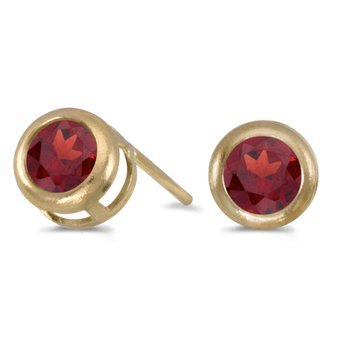14k Yellow Gold Round Garnet Bezel Stud Earrings