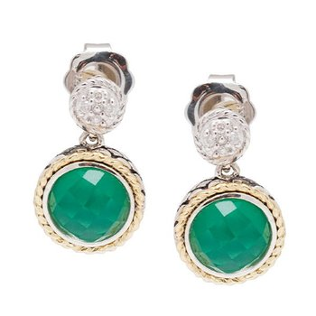 18kt and Sterling Silver Round Green Agate Doublet and Diamond Earrings