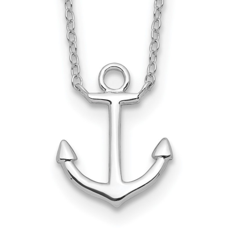 Quality Gold Sterling Silver Rhodium-plated Anchor w/2in ext. Necklace