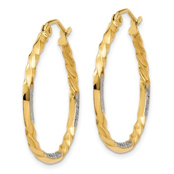 14k & Rhodium Diamond Cut Twisted Hoop Earrings