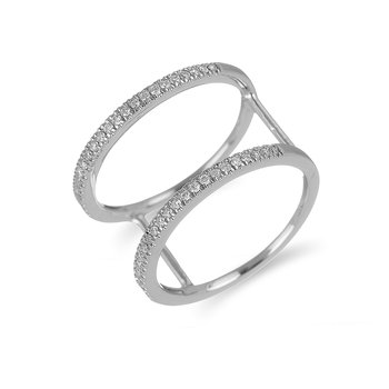 14K WG Diamond Double Bar Fashion Ring in Split Prong Setting