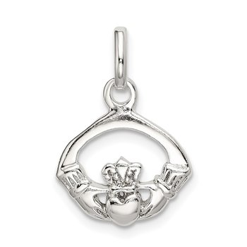 Sterling Silver Polished Claddagh Charm