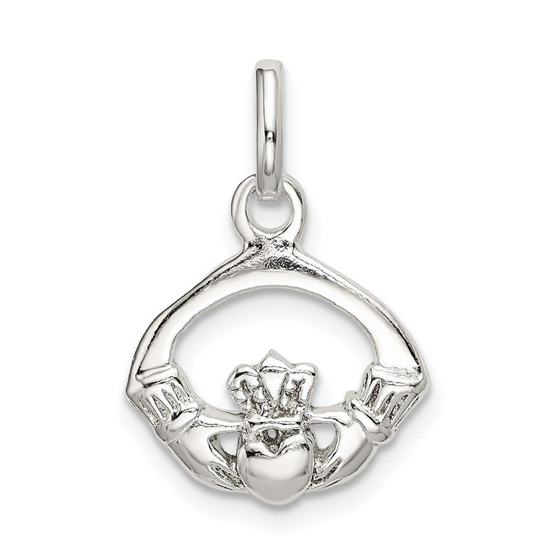 Quality Gold Sterling Silver Polished Claddagh Charm