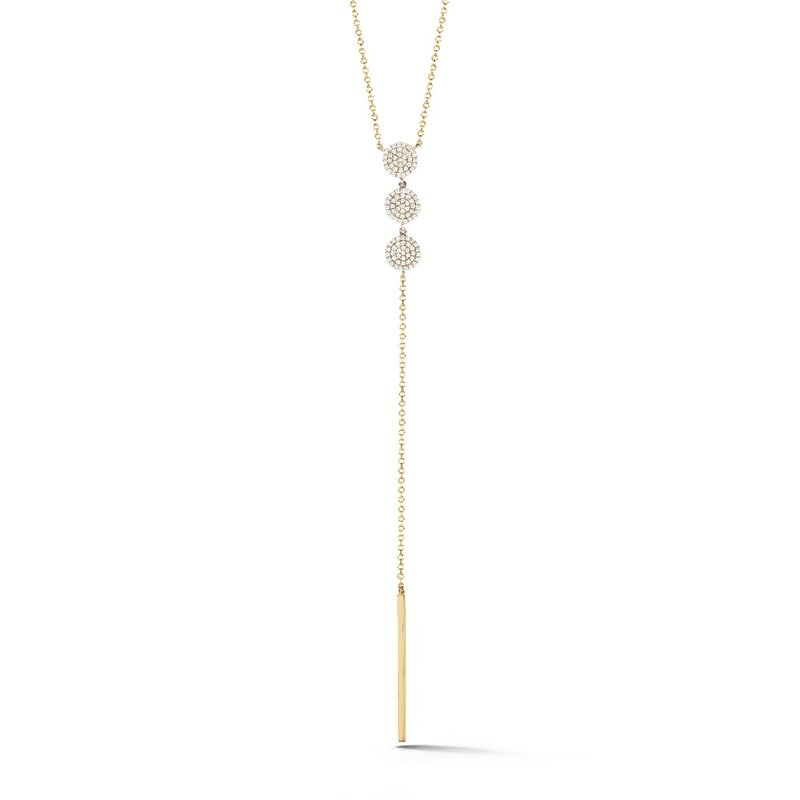 Shula NY Fashionable lariat necklace in 14K and 114 diamonds T.W 0.38ct