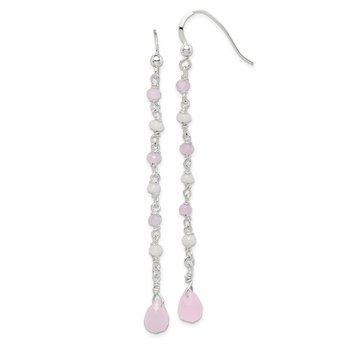 Sterling Silver Pink and White Glass Dangle Earrings