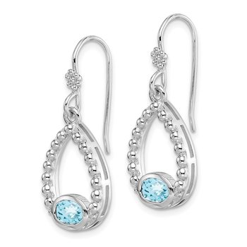Sterling Silver Rhodium-plated Lt. Swiss Blue Topaz Shepherd Hook Earrings