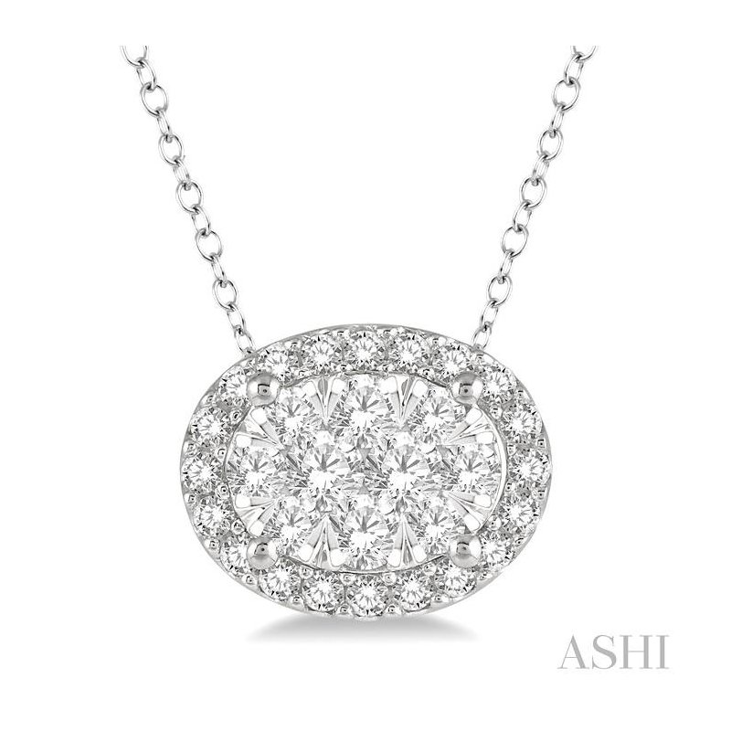 ASHI oval shape lovebright essential diamond pendant