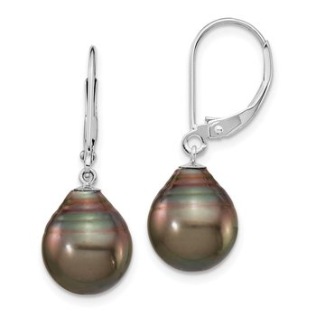 14K WG 10-11mm Teardrop Saltwater Cultured Tahitian Leverback Earrings