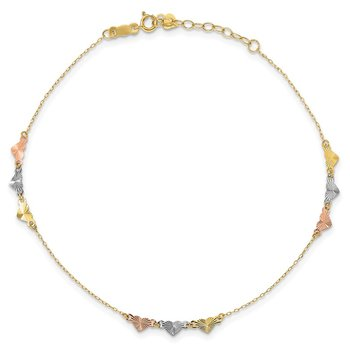 14K Tri-Color Diamond-cut Hearts 9in Plus 1in ext Anklet