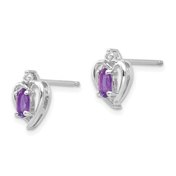 14k White Gold Amethyst and Diamond Heart Post Earrings
